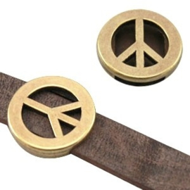 1 x DQ metaal schuiver peace (voor DQ leer plat 10mm) Antiek brons