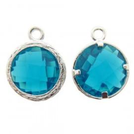 Bedel metaal cubic zirconia facet aqua blauw groen  13x17mm zilverkleur