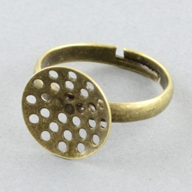 Verstelbare basis ring, diameter c.a.18 mm , maat van de ringdop: 14mm geel koper kleur