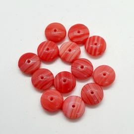 15  Stuks rode schijfkralen rood met wit gemêleerd 9mm gat 1mm