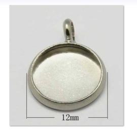 4 x Houder Y: Prachtige Cabochon houder. Binnenzijde: 10mm platinum kleur