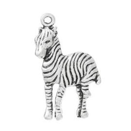 2 x Bedel Zebra Antiek Zilver 30x10,8 mm
