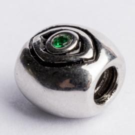 Be Charmed kraal zilver met een rhodium laag (nikkelvrij) c.a.11x 10mm groot gat: 4mm