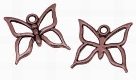 4 x Tibetaans zilveren bedel van een vlinder, erg mooi! 18,5 mm x 18mm rood koper kleur