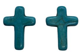 5 x Keramiek turquoise kruis aqua blauw 16 mm gat 2 mm