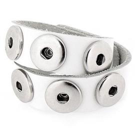 Dubbele drukker armband van runderleder en drukknoopsluiting dubbele rij voor zes verwisselbare drukkers wit