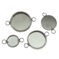 2 x Houder Y: Prachtige Camée of Cabochon houder platinum kleur. Stainless Steel Binnenzijde: 10mm Gat: 1,5mm