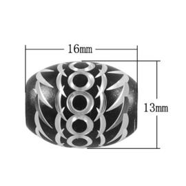 10 x Prachtige zwarte aluminium kraal 16 x 13mm Gat: 5mm