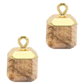 1 x Natuursteen hangers square Porcini brown-gold picture stone