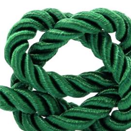 1 rol met 5 meter trendy koord weave c.a. 10mm Classic green(kies voor pakketpost)