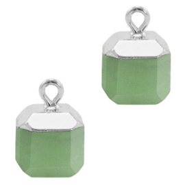 1 x Natuursteen hangers square Ocean green-silver Marble Stone