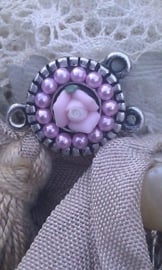 Per stuk tibetaans zilveren bedel/tussenzetsel met bloem roze 18 mm