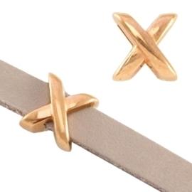 """DQ metaal schuiver """"X"""" Ø5.2x2.2mm Rosé goud (nikkelvrij) op is op"""