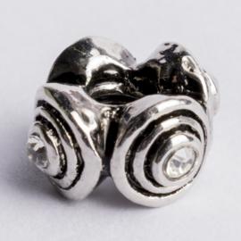 Be Charmed kraal zilver met een rhodium laag (nikkelvrij) c.a.14x 7.5mm groot gat: 4mm