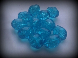 10 x glaskraal crackle grillig ovaal transparant blauw 13 mm