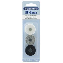 Beadalon B-Lon nylon draad 3st. Black, Grey, White
