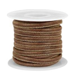 Rol met 5 meter gestikt leer imi 4x3 mm Rich brown (kies voor pakketpost)