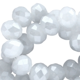 Streng met c.a. 72 stuks electroplated briolette kristal kraal 8 x 6mm gat 1mm imitatie Jade Grey