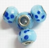 Per stuk Glaskraal European-style aqua met blauwe stippen 14 mm