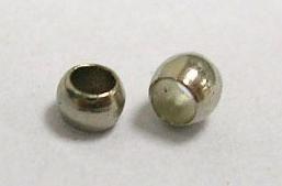 100 stuks nikkelkleurige knijpkralen c.a. 2 mm gat 1mm