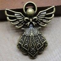 Engel hanger Tibetaans Zilver  23 x 26mm oogje c.a. 1,5mm Geel koper