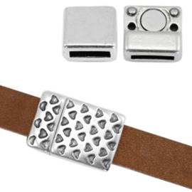 1 x Onderdelen DQ metaal magneetslot hartjes print Ø10x2mm Antiek zilver