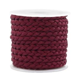 1 meter Trendy plat koord gevlochten silk style 5mm Port red