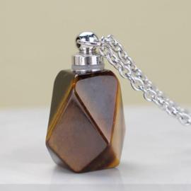 Gedenk hanger mini urn half edelsteen Tijgeroog met RVS ketting