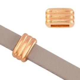 1x DQ metaal schuiver ribbel Rosé goud Ø5.2x2.2mm