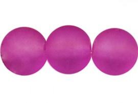 10 Stukskunststof kraal  rond mat fucsia paars 6 mm