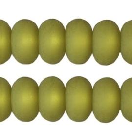 Per stuk Polaris kralen matt disc 8mm Olivine groen