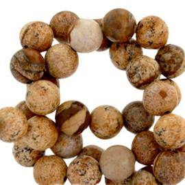 10 x half edelsteen kralen rond 6mm agaat mat Natural brown