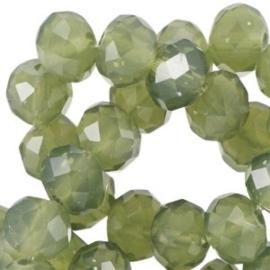 15 x facet kralen 8x6mm disc Khaki green opal