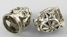 10 stuks kralenkapjes Tibetaans Zilver 8 x 9 x 2,5mm