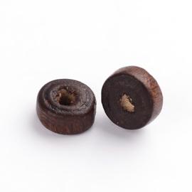 100  stuks Houten kraal disc coconut brown 6 x 3mm gat: 2mm