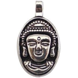 2 x Metaal Bedel Buddha Antiek Zilver 32x18 mm