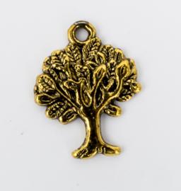 5x Vergulde bedels van een boom 21,3 mm x 16,5 mm