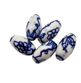 5 stuks Keramiek Delfts blauwe kralen porcelein ovaal 16 x 85,7mm gat: 1,5mm