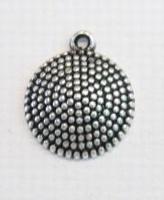 10x Antiek zilveren kunststof hanger rond bolletjes 23 mm
