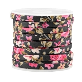 20 cm Trendy plat koord 5mm Black - rose