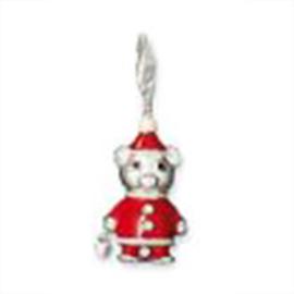 Kerstbeer  925 Sterling Zilveren Bedel met karabijnsluiting
