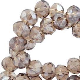15 x Top Facet kralen 6x4 mm disc Black diamond-pearl diamond coating