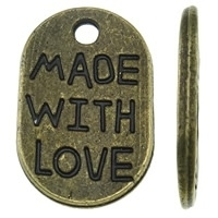 "10 x Bedeltje ""Made with love"" 17 x 11 x 1,5mm  gat: 1,5mm Tibetaans Zilver geel koper ♥"