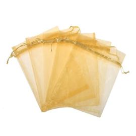 c.a. 100 goud gele organza zakjes 9x12cm
