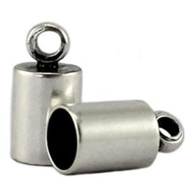 2 x DQ Eindkapje 3 mm DQ Antiek Zilver Plated duurzame plating 8x4 mm Ø 3.0 mm