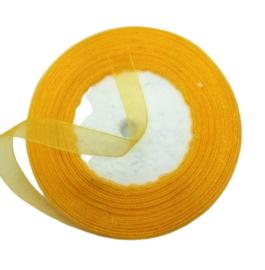 2 meter Organza lint 10mm breed per meter, oranje