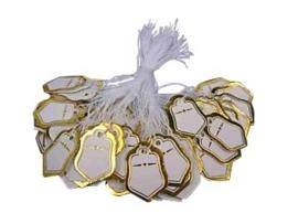 Bosje met c.a. 100 stuks prijs labels prijskaartjes met gouden randje 18x25mm met koordje