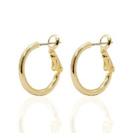 2 stuks  oorbellen DQ creolen 18 mm Gold plated (Nikkelvrij)