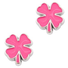 2 x Floating Charms klavertje 4 Antiek zilver-neon pink 9x8 mm