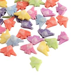 25 x Vrolijke gemixte acryl kralen vlindervis